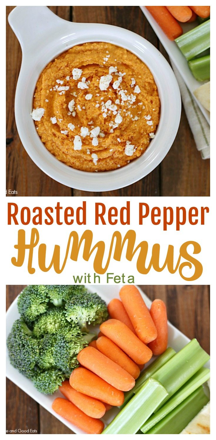 This Roasted Red Pepper Hummus with Feta is spicy and tangy in the best way. Serve with raw veggies or pita bread. Makes for a healthy and yummy snack! - My daughter loves this hummus in her lunchbox.