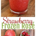 This Strawberry Frozen Rosé is the perfect summertime drink! This simple recipe makes two servings but could easily be multiplied for a crowd.