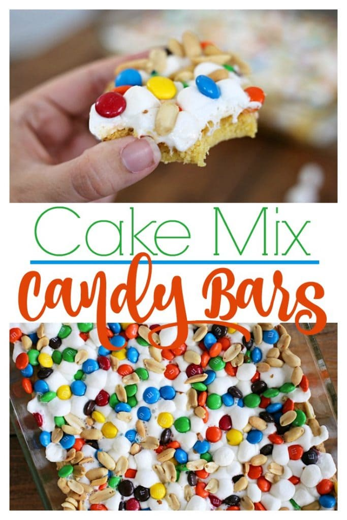 Make these quick and easy Cake Mix Candy Barsby topping a cake-mix crust with marshmallows, milk chocolate candies, and peanuts.