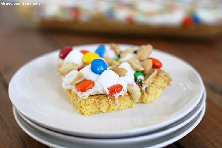 cake mix candy bar on a plate
