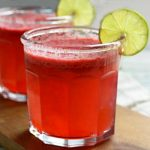 Raspberry Lime Agua Fresca- a delicious fruit infused sparkling water. Fruity with a little fizz.