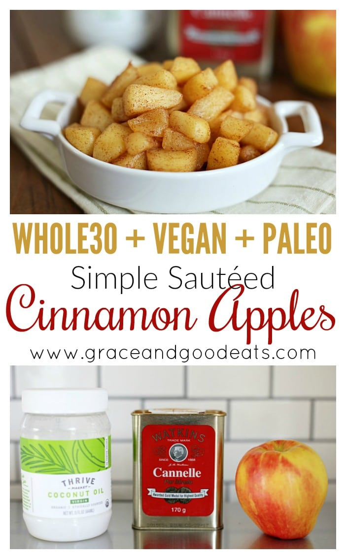 These simple three ingredient sautéed cinnamon apples are Paleo, Vegan, and Whole30 compliant. No added sugar or sweeteners, dairy free, gluten free, and DELICIOUS!