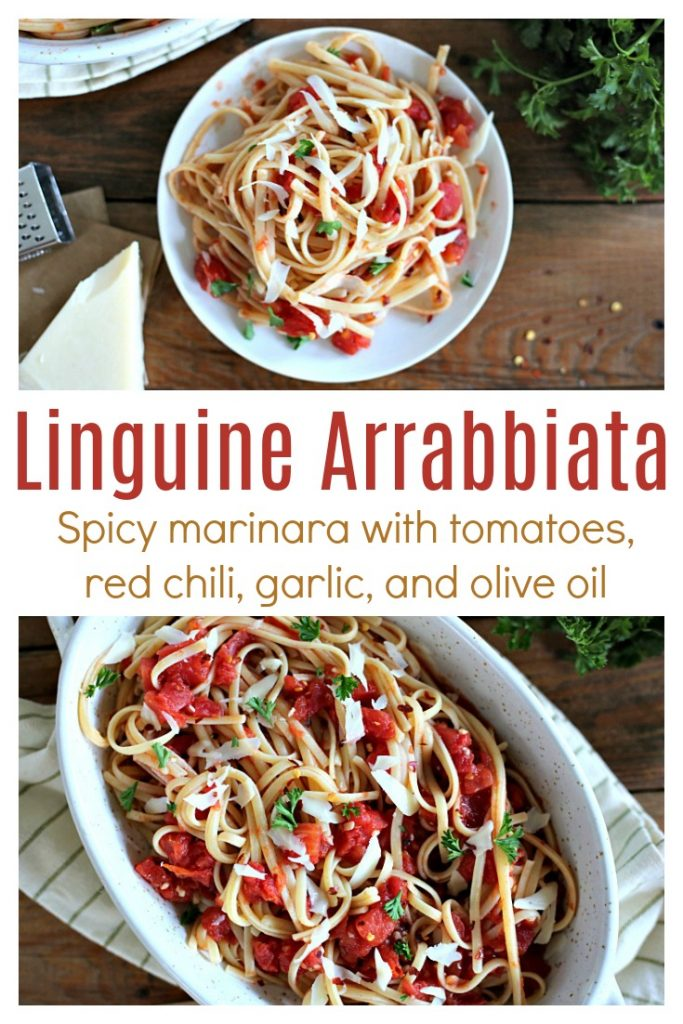 This Arrabbiata, or spicy marinara, combines tomatoes, red chili, garlic, and olive oil for a delicious sauce with a kick.  Serve this simple linguine arrabbiata with a loaf of crusty French bread and extra olive oil for dipping!