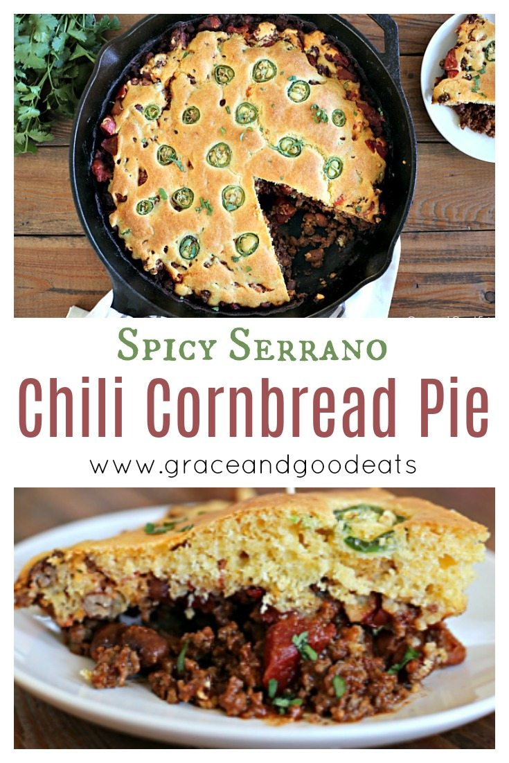 This Kickin' Chili Cornbread Pie is hearty, meaty, spicy goodness. Perfect for a cold night and easy enough for a weeknight meal.
