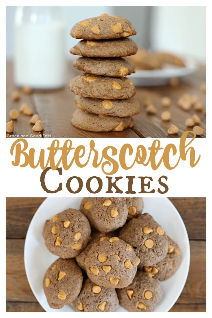 These homemade Butterscotch Cookies are dense and cakey, and bursting with rich butterscotch chips.
