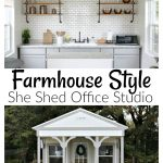 I transformed an unfinished tiny house cabin into my dream Farmhouse Style She Shed Office Studio.  Electricity, hot water, cabinets, flooring, and faux shiplap all came together to make the perfect detached food photography studio office space.  Check out the full reveal with sources.