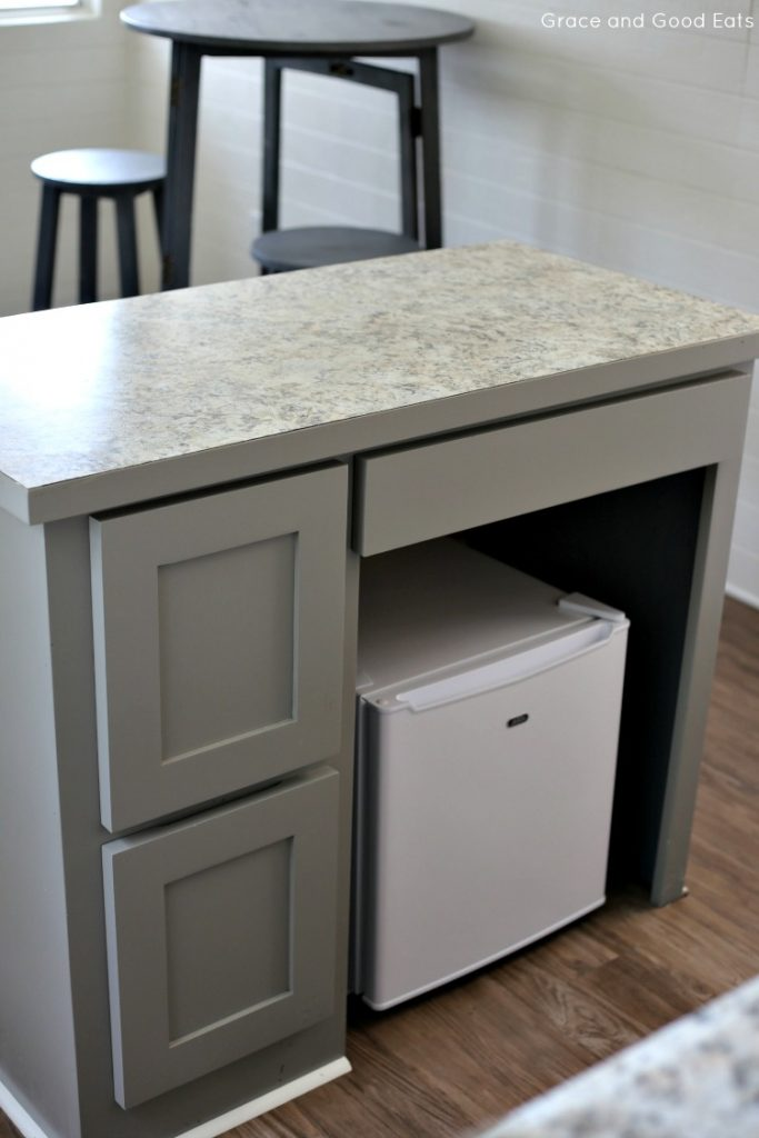 desk turned kitchen island