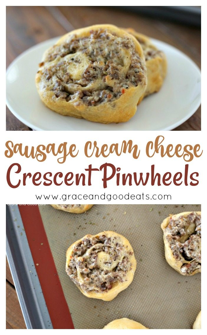These three ingredient Sausage Cream Cheese Pinwheels are so easy and so delicious.  This savory, cheesy, tangy recipe is so versatile and is perfect as an appetizer, party food, or brunch dish.