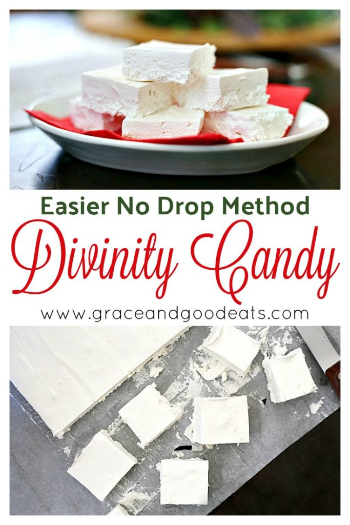 This easy divinity recipe is made in one big pan, like fudge, instead of using the drop candy method. Make homemade divinity the easier way. Perfect for gifting!