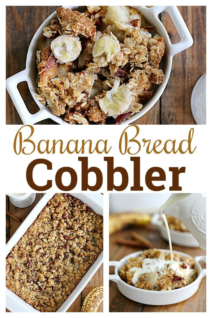 All the tastes of banana bread in a gooey, warm cobbler that is perfect for breakfast or dessert. Serve this Banana Bread Cobbler with a drizzle of fresh cream or a scoop of vanilla ice cream.