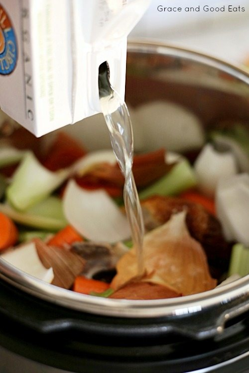 adding chicken broth to bone broth