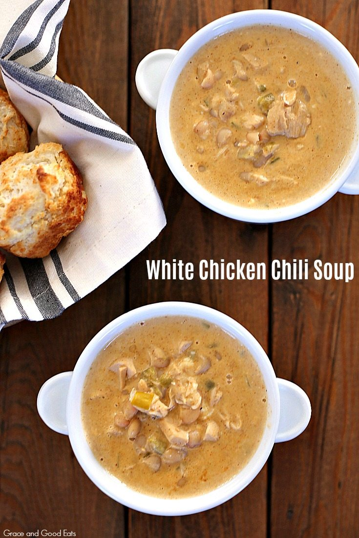 This White Chicken Chili Soup is full of white beans, savory spices, and tender chicken. Use homemade bone broth for an even richer depth of flavor.