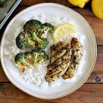 Cooked Perfect Lemon Herb Chicken and Parmesan Roasted Broccoli come together to create a one Sheet Pan Lemon Chicken.  This dish is an easy weeknight meal and bakes in under twenty minutes.