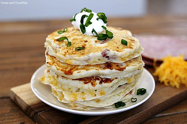 stack of savory pancakes on a white plate