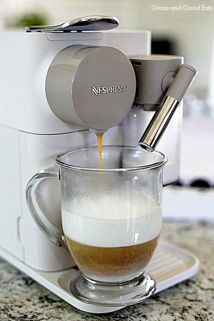 making a latte in the Lattissima One