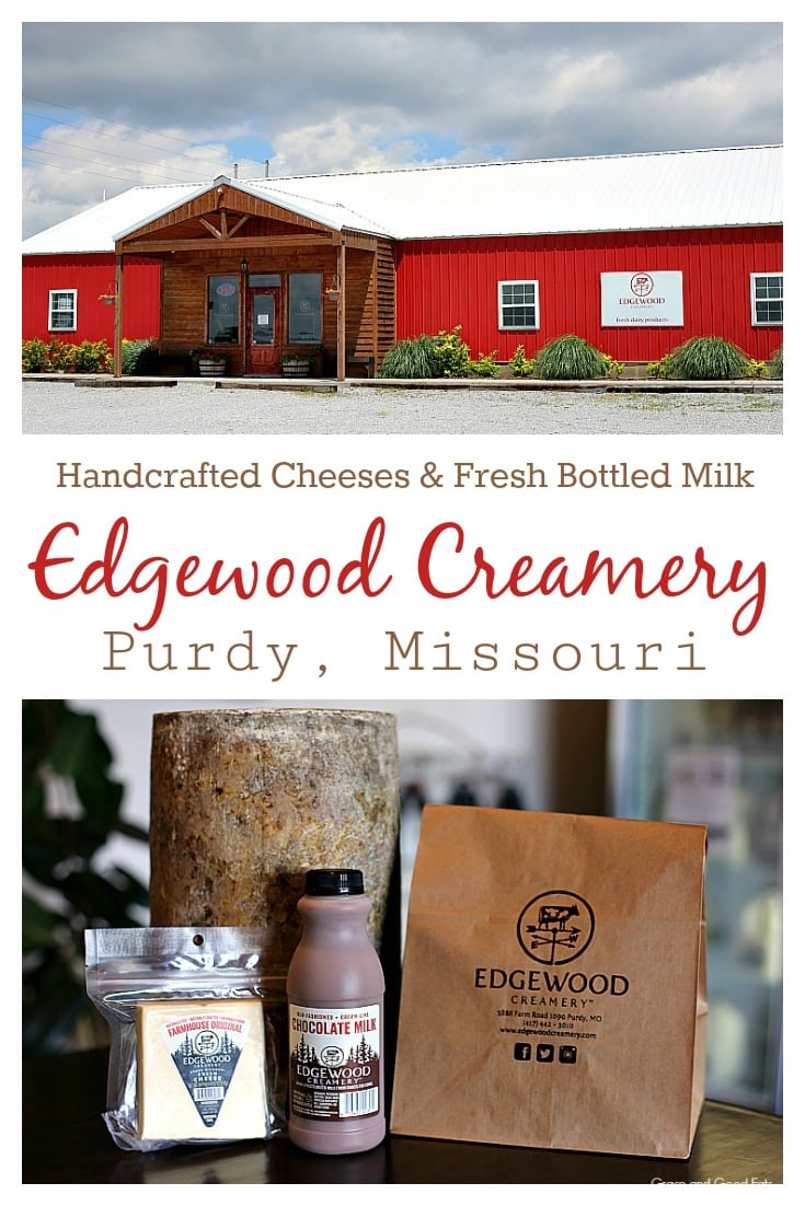 Edgewood Creamery is an adorable shop selling quality, grass-fed dairy products from their family-owned and operated farm located in Purdy, MO.  Stop by for old-fashioned cream-line milk and a variety of cheeses like Edgewood Cheddar, Ozark Mountain Blue, and Fromage Blanc.