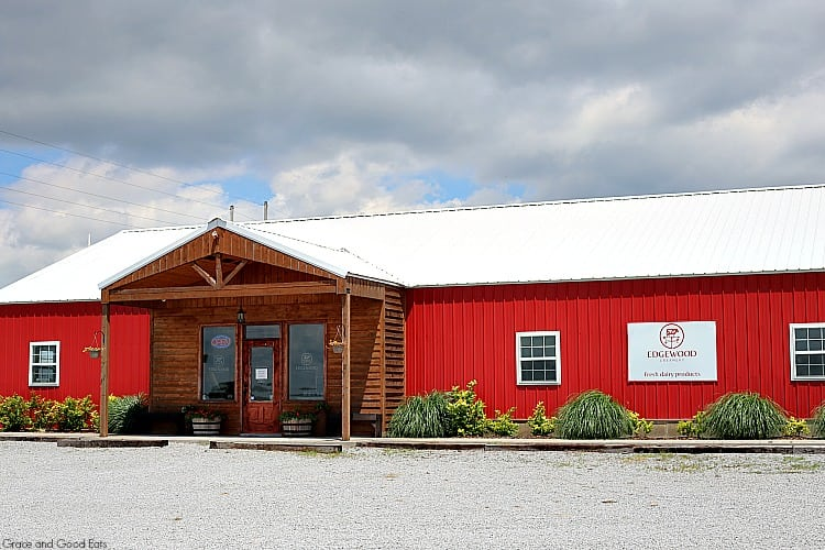 red barn building with a metal roof