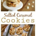 These Salted Caramel Cookies are a match in caramel + flaky sea salt + white chocolate chip Heaven.Not only do they taste amazing, but the recipe is incredibly easy (no need to soften butter or use a stand mixer).