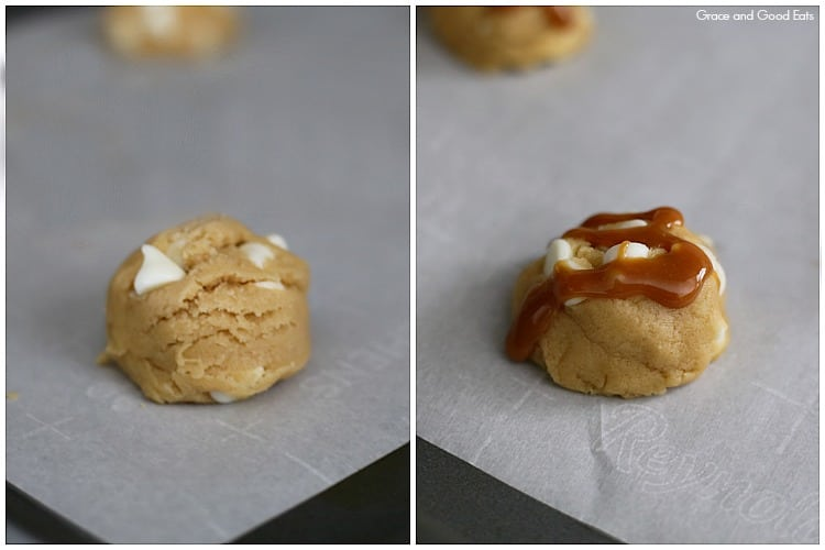 cookie dough beside cookie dough with drizzled caramel