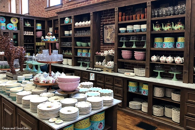shelves with kitchen items at The Mercantile