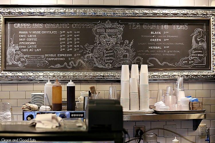 chalkboard coffee menu at Eva's Bakery