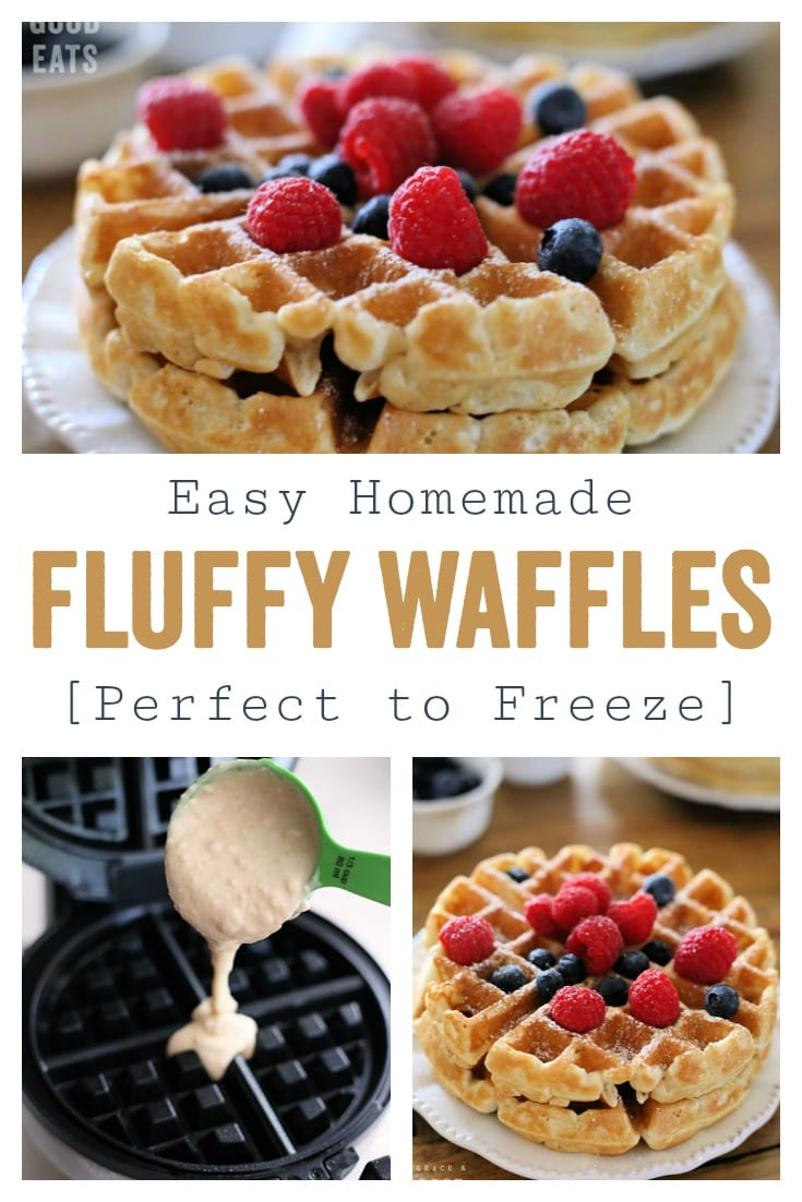 Use this Fluffy Waffle Recipe to make thick, fluffy waffles without the hassle of beating egg whites! Make a double-batch and freeze for homemade waffles in minutes.