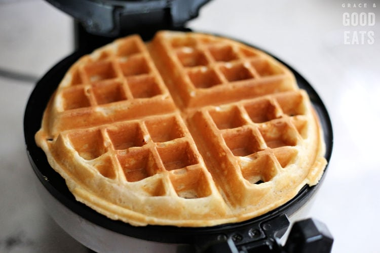 cooked waffle in a waffle maker