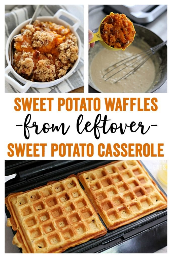 Use your favorite leftover sweet potato casserole or candied sweet potatoes to make these Sweet Potato Waffles. A fall twist on a breakfast classic and a delicious way to use up holiday leftovers!