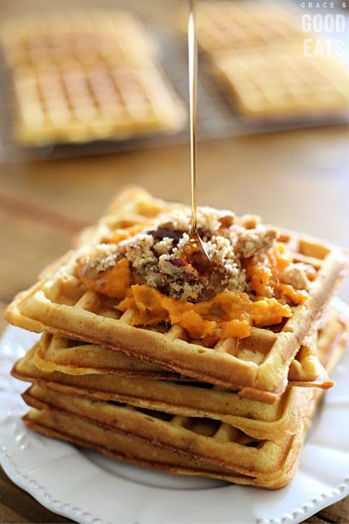 sweet potato waffles topped with leftover sweet potato casserole