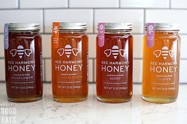jars of Bee Harmony Honey lined up
