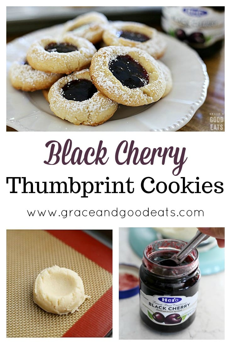 These Easy Thumbprint Cookies made with Black Cherry Hero Fruit Spread are the perfect holiday cookies!  Great to bake with kids and totally giftable.