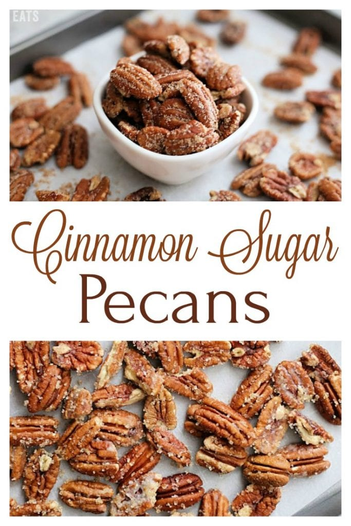 These Cinnamon Sugar Pecans are the perfect treat to snack on during the holidays.  They're also great as added crunch for a salad or for last-minute gifting!