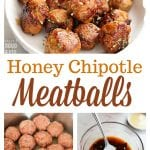 These Honey Chipotle Meatballs are a delicious appetizer full ofsweet, smoky, and spicy flavors. Pair these homemade turkey and sausage meatballs with rice for a quick and easy dinner.