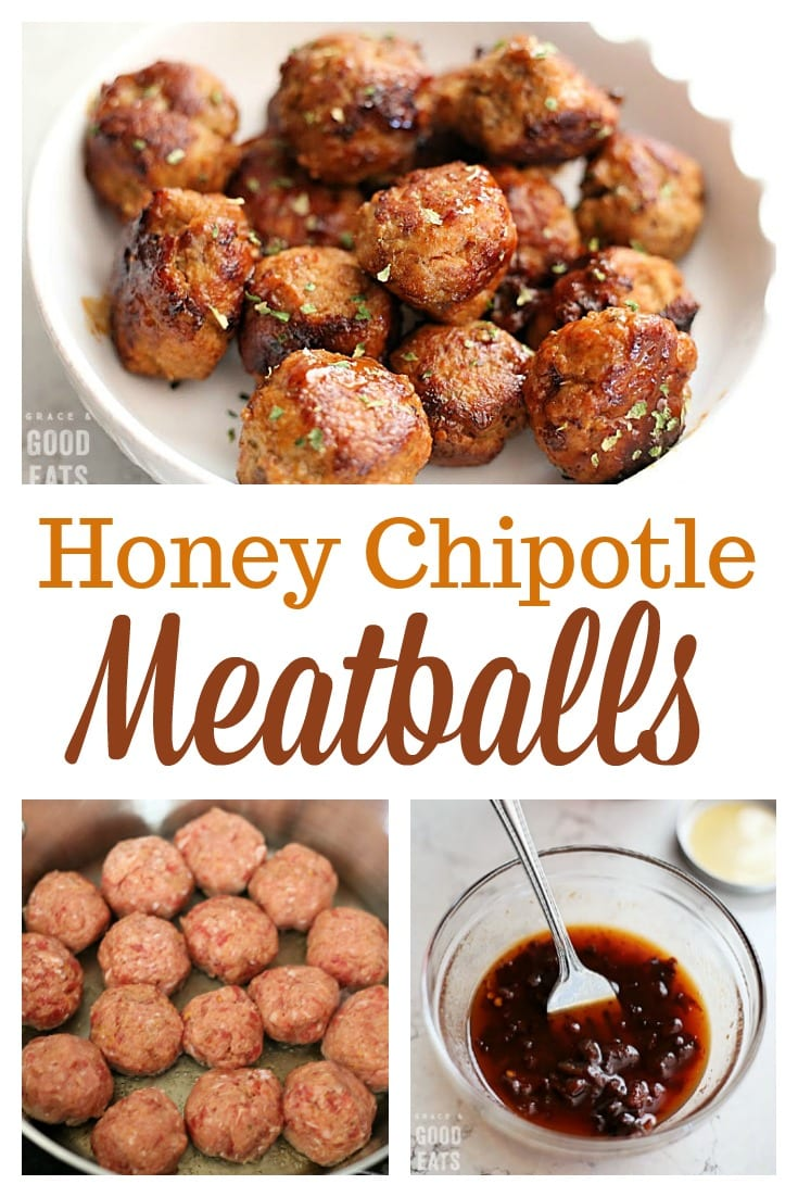 These Honey Chipotle Meatballs are a delicious appetizer full of sweet, smoky, and spicy flavors.  Pair these homemade turkey and sausage meatballs with rice for a quick and easy dinner.
