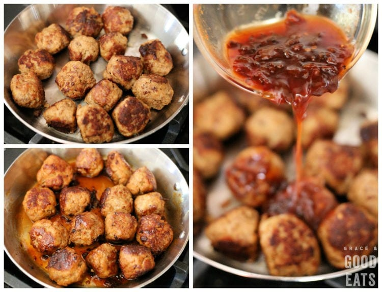 steps to add the honey chipotle glaze to cooked meatballs in a skillet