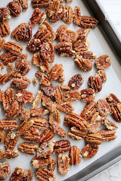 sheet pan with cinnamon sugar pecans