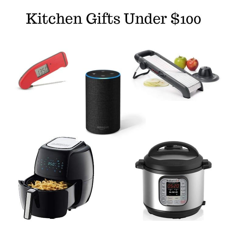 picture of a Thermapen MK4, Amazon Alexa, OXO Mandolin, Air Fryer, and Instant Pot