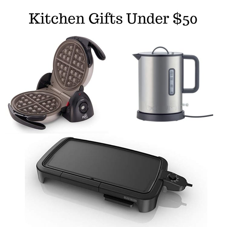 picture of a waffle iron, water kettle, and electric griddle