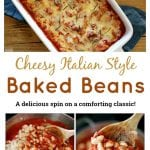 These Cheesy Italian Canned Baked Beans are a delicious spin on a Southern classic. Traditional Italian flavors like onion, garlic, tomatoes, and real Parmesan transform boring pantry staples into a comforting new dish.