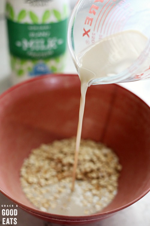 pouring milk into a bowl