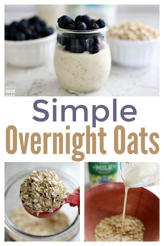 Simple Overnight Oats with only 5 ingredients and easily customized with fruit, nuts, seeds or other mix-ins. The perfect make-ahead + grab and go breakfast.