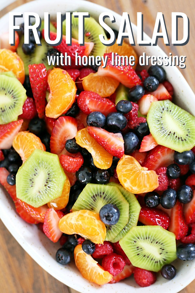 This fruit salad with honey lime dressing is the only recipe you need for all of your summer celebrations! It is my go-to recipe when I need to bring something to a BBQ or picnic. Fresh, colorful berries paired perfectly with a honey lime glaze you will want to eat with a spoon.