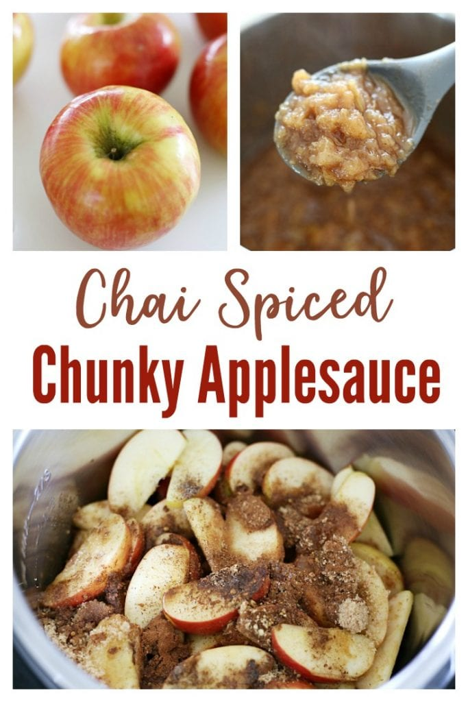 Chai Spiced Chunky Applesauce that is full of flavor and only takes five minutes to make using a pressure cooker.  Use this basic recipe to customize the flavor and texture to your preference.