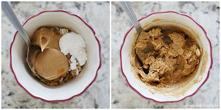 bowl of ingredients for no bake peanut butter oatmeal cookies