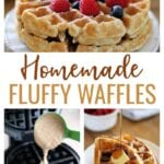Use this Fluffy Waffle Recipe to make thick, fluffy homemade waffles without the hassle of beating egg whites! Make a double-batch and freeze for later.