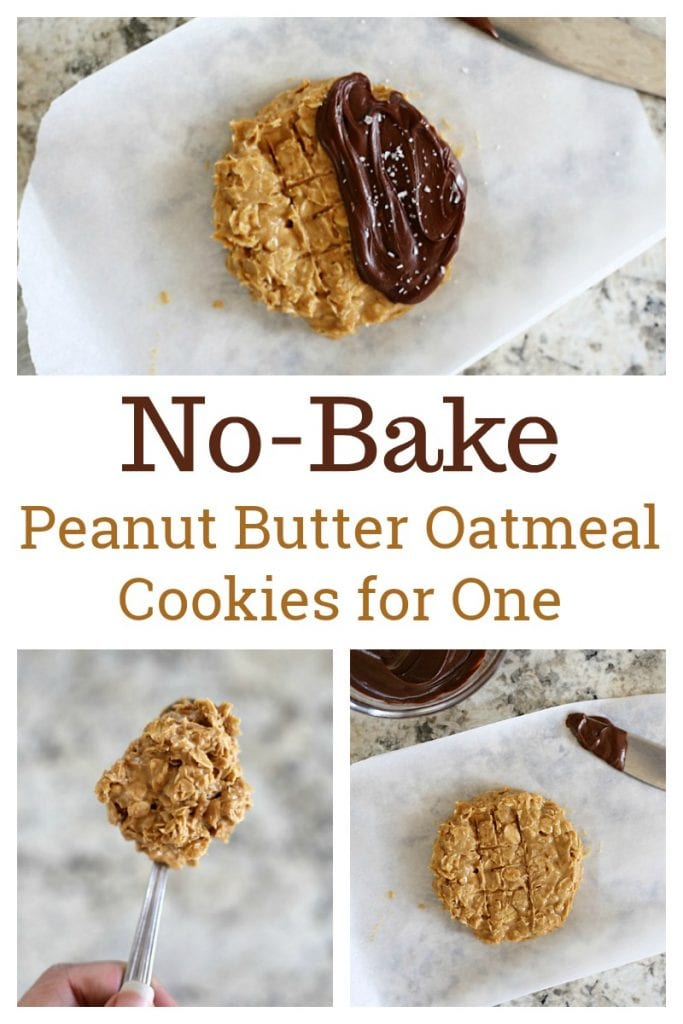 No Bake Peanut Butter Oatmeal Cookies - this easy four-ingredient recipe makes one delicious cookie.  Smear the top with melted chocolate and sprinkle of flaky sea salt to satisfy a quick craving!
