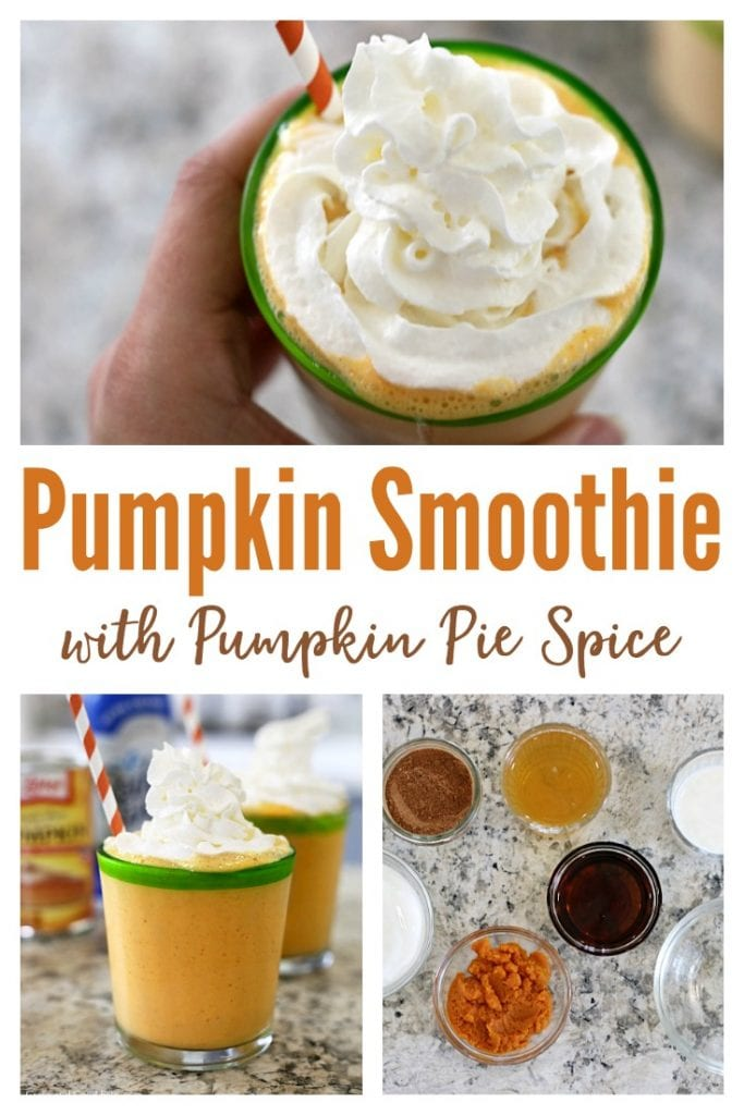 Pumpkin Smoothie - an easy, protein-packed breakfast with pumpkin puree and sweetened with maple syrup.  This yummy fall treat tastes like pumpkin pie in a glass!