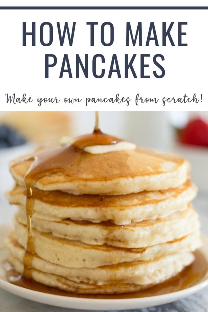 Pancake Recipe made with simple ingredients that takes only a few minutes time.  Load these perfect homemade pancakes up with fresh fruit or drown them in your favorite maple syrup.
