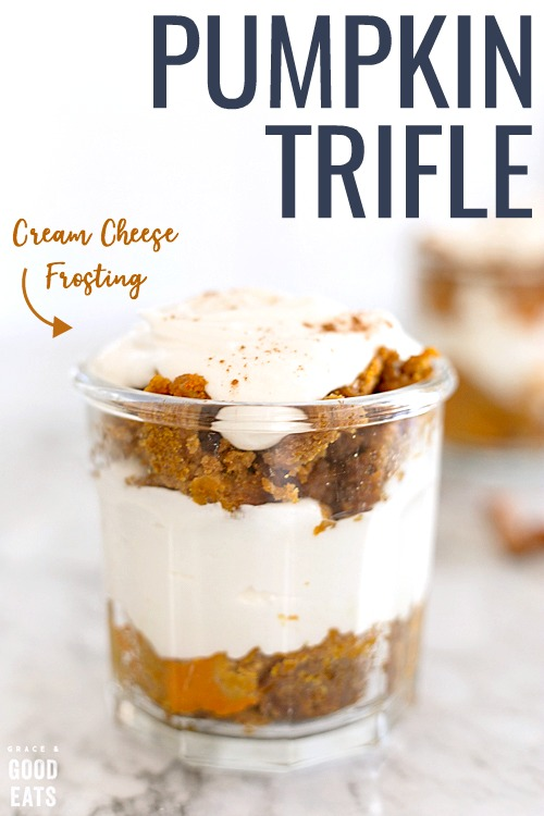 Pumpkin Trifle made with a three-ingredient pumpkin spice cake and rich cream cheese frosting.  An impressive and delicious dessert that's made in the slow cooker!