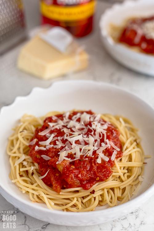 bowl of noodles with marinara sauce